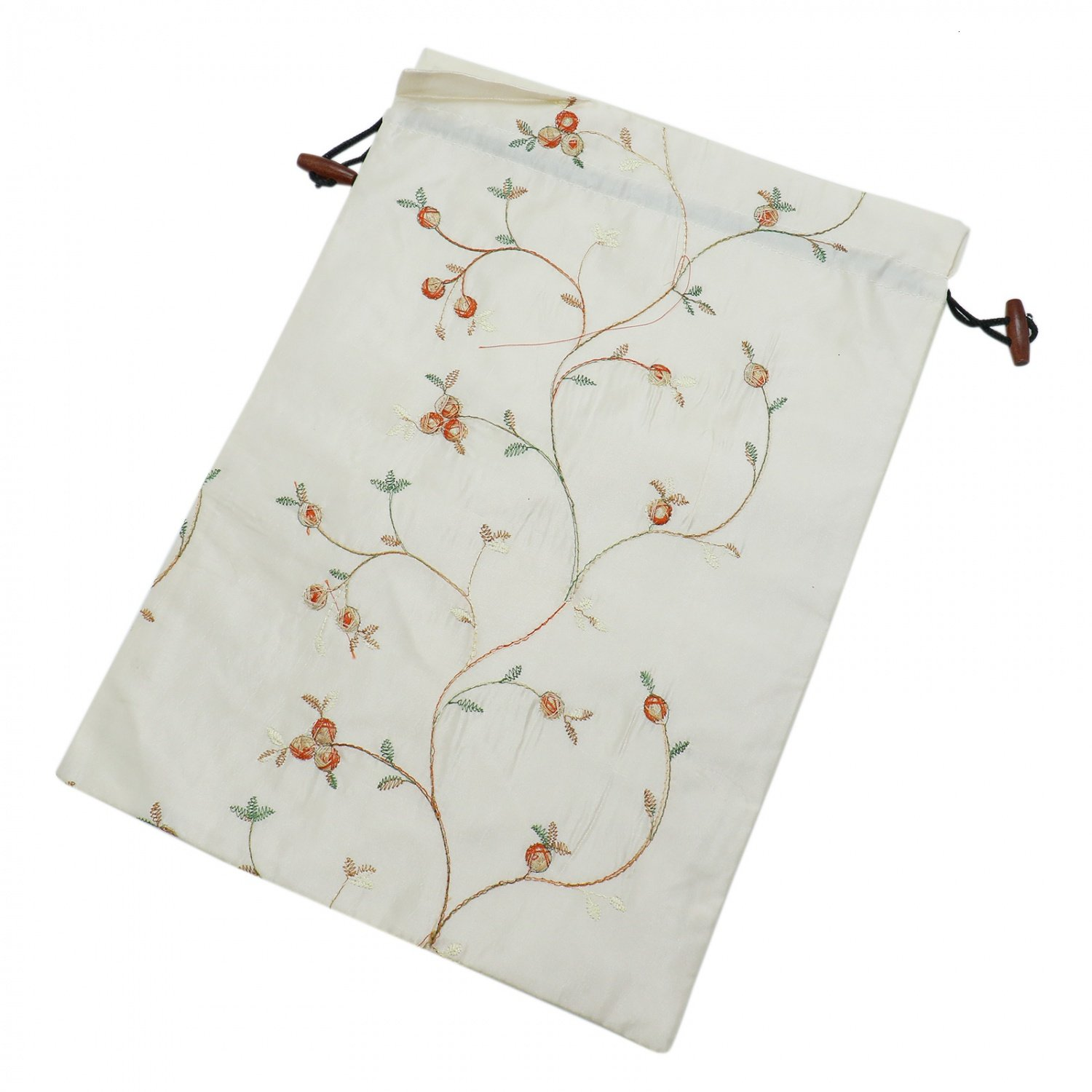 Buorsa Flower Design Embroidered Silk Jacquard Travel Bag Underwear Cloth Shoe Bags Pouch Purse , Set of 3--- 14'' x 11''(L x W) by Buorsa (Image #2)