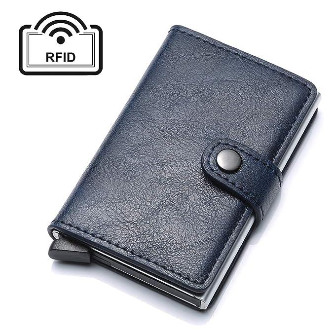 Card Para Holder Real Ropa Accesorios Talla Credit es Hombre Rfid Y Azul Unyu Amazon Cartera Única wFqEXta