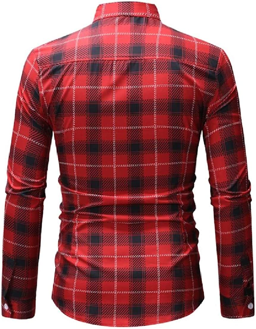 Domple Men Plaid Check Business Button Up Classic Long Sleeve Dress Shirts
