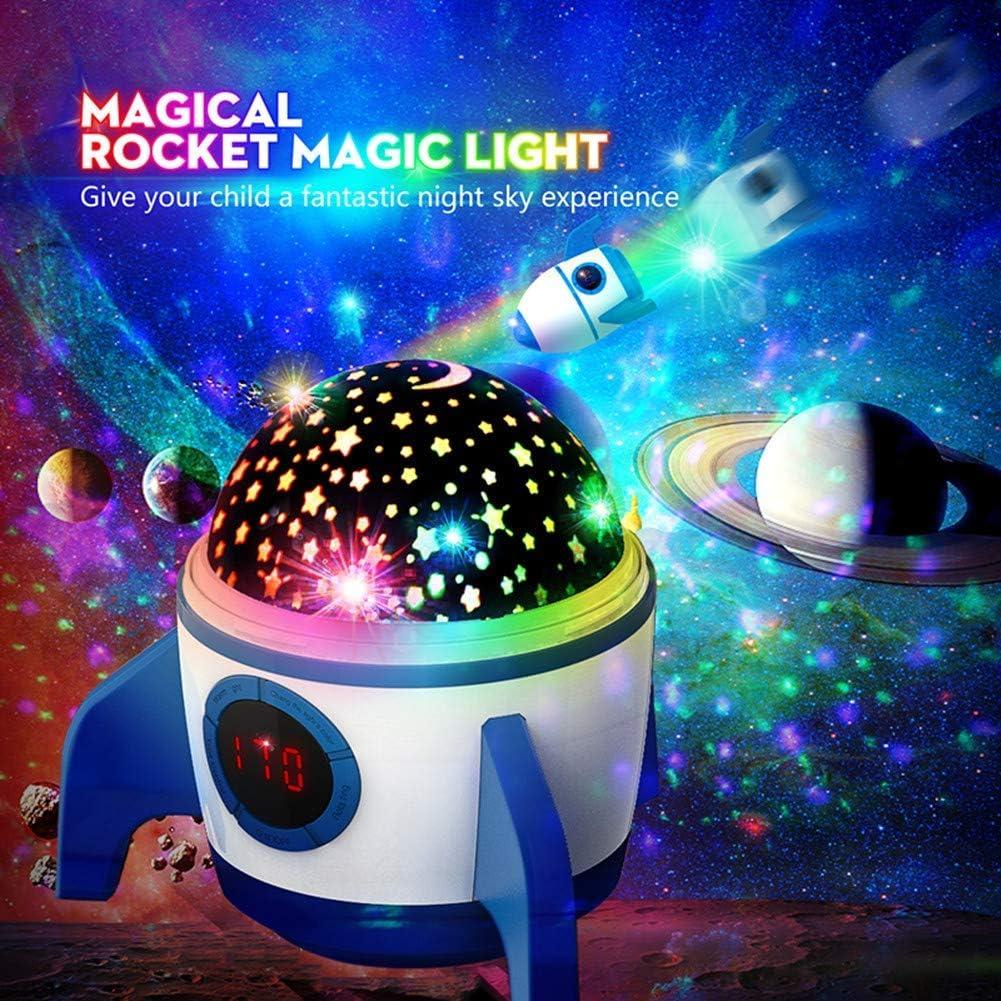 LED Raketenform Baby Lampe mit Fernbedienung Kinder Nachtlicht 360/°Rotation und Timing Schlaflicht Geschenke f/ür Kinder//Frauen//Freunde Blau und Wei/ß Amouhom Sternenhimmel Projektor 2019 Neuest