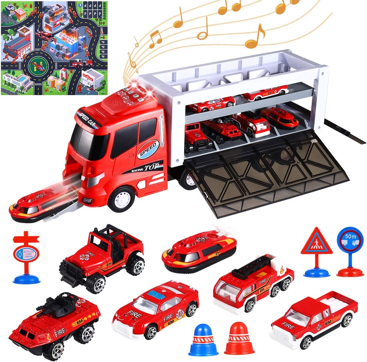 Die-cast Fire Truck Toy with Fire Engine Cars 2020 New Version 7 Years Old iBaseToy Transport Car Carrier Truck Toy with Lights and Sounds 6 Roadblocks /& Play Mat for Kids Toddlers Boys 3 5 4