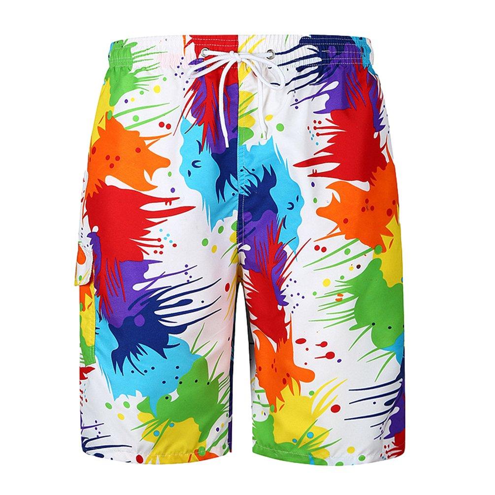 ZKOOO Mens Surf Boardshorts Drawstring Funky Printed Beach Shorts Swimming Trunks