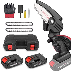 Mini Chainsaw Battery Power Chain saws, 4-Inch Electric Mini Cordless Chainsaw , One-Hand Operated Portable Pruning Saw for Garden Tree Trimming Branch Bonsai Trunk Firewood (2pcs Batteries)