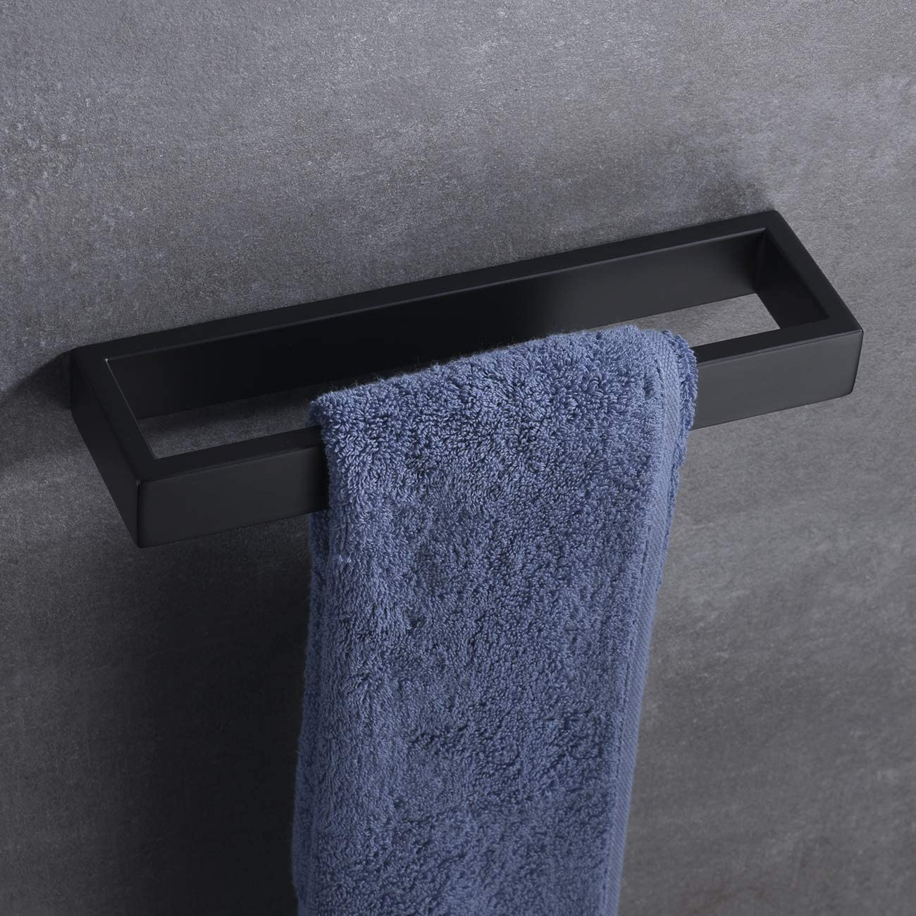 D110-BK Hand Towel Ring Matte Black SUS 304 Stainless Steel Contemporary Style Wall Mount Hoooh Bath Towel Holder