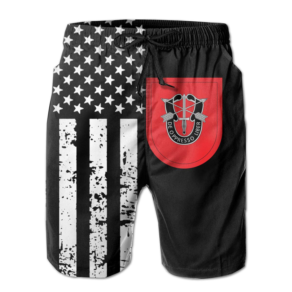 TBVS 79 7th Special Forces Mens Slim Fit Surfing Boardshorts with Mesh Lining
