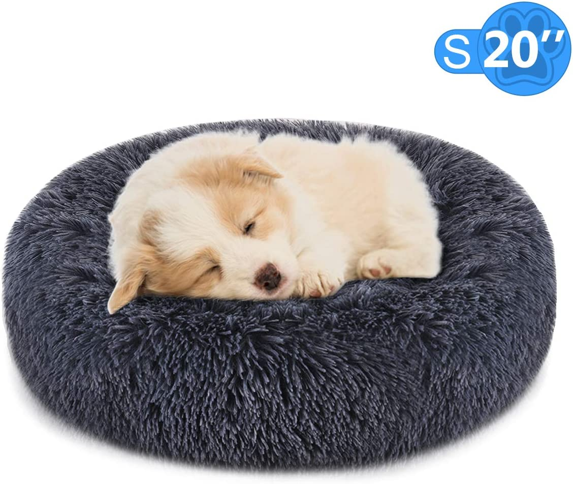 FOCUSPET Dog Bed Cat Bed Donut,Pet Bed Faux Fur Cuddler Round Comfortable for Small Medium Large Dogs Ultra Soft Calming Bed,Self Warming Indoor Sleeping Bed Multiple Sizes 20 24 32 40 46