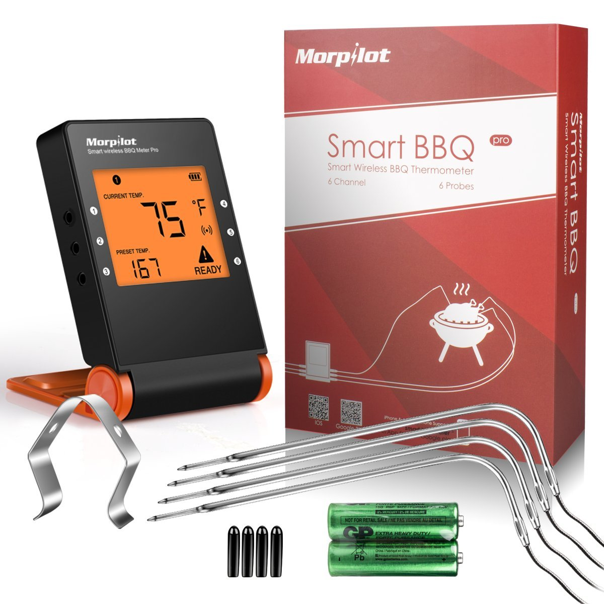 Grillthermometer mit, Morpilot Bratenthermometer Garten Digital Thermometer mit großem LCD-Display, 4 Edelstahl Temperaturfühlern, App für Grillen, Backen, Ofen Kochen Steak