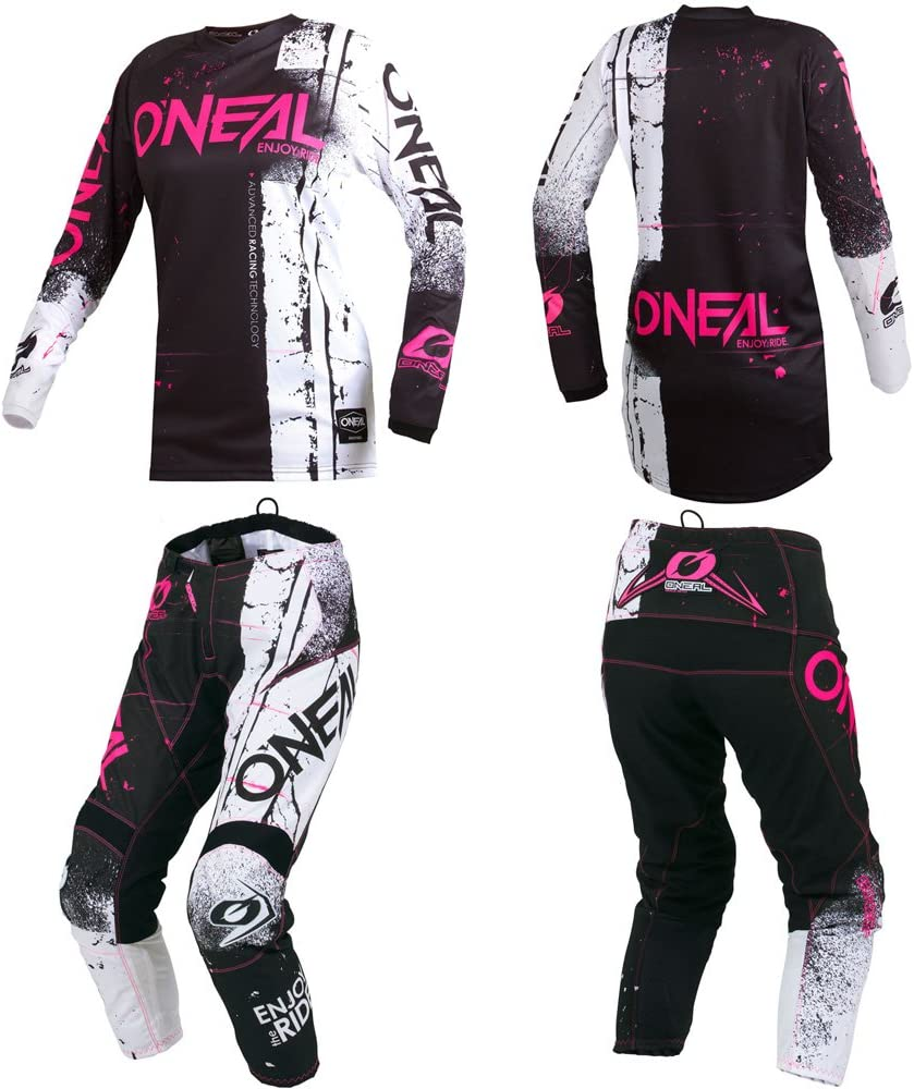 Pants Women 9//10 // Jersey Large ONeal Element Women Shred Pink motocross MX off-road dirt bike Jersey Pants combo riding gear set