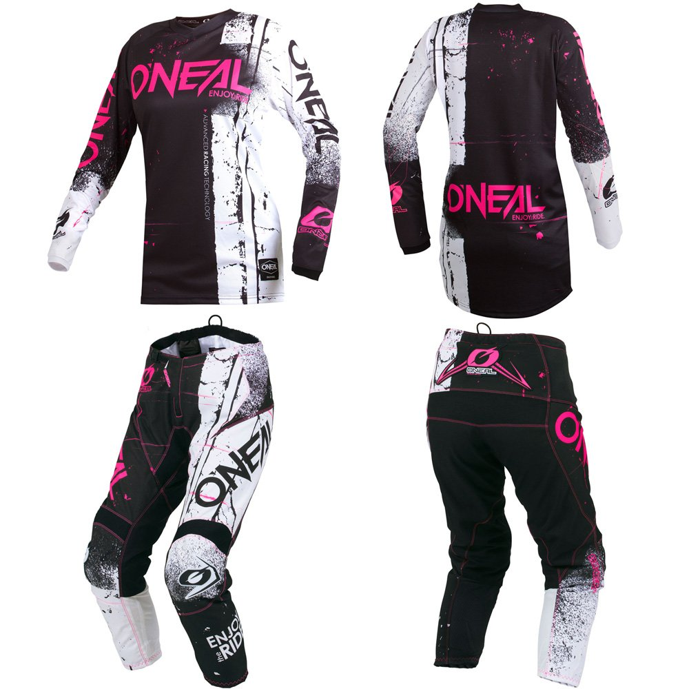O'Neal Element Shred Pink Kids/Youth motocross MX off-road dirt bike Jersey Pants combo riding gear set (Pants 5/6 (22)/Jersey Kids Small) O' Neal