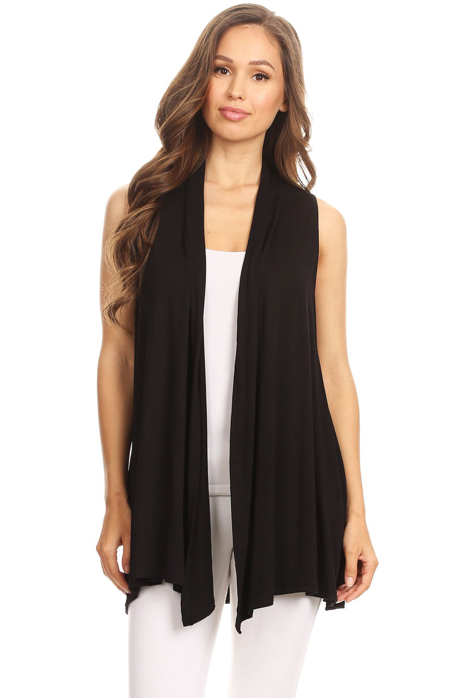 Lightweight Sleeveless Draped Open Cardigan/Made in USA Black 2XL