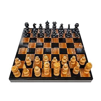 CBAM Tablero de ajedrez con ajedrez en mármol marrón y Negro ...
