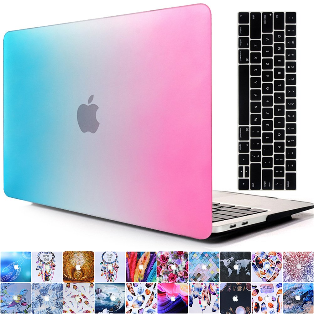 AY0070 Macbookシリーズ用ケース + キーボードカバー プロテクター 2016 Macbook 13 Pro With/Without Touch Bar AY0070-2016 13pro-RB Blue&Purple B01N7GO60U  Rainbow Blue&Purple 2016 Macbook 13 Pro With/Without Touch Bar
