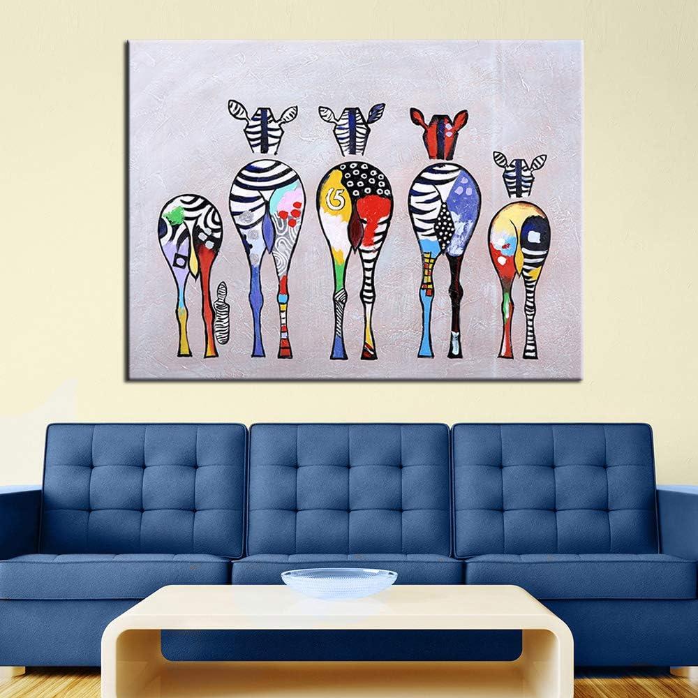 QWESFX Dibujos animados abstractos modernos cebra pintura al óleo colorida pared decorativa lienzo arte cuadros para sala de estar decoración del hogar un 35x70 cm