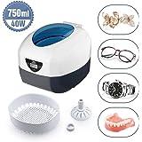 Uten Pulitore ad Ultrasuoni da 750ML Display Digitale con Cesto di Pulizia per Occhiali Dentiere Orologi CD e altro, Frequenza Ultrasuoni40KHz 35W [Classe Energetica A++]