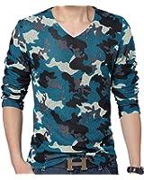 QZUnique Men's Camouflage Color Long Sleeve V-Neck Grenadine T-shirt