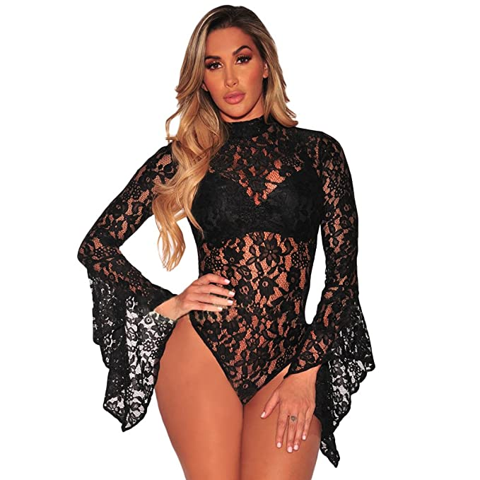 Image Unavailable. Image not available for. Color  Romacci Women Sexy Lace  Bell Long Sleeve Mesh Sheer Babydoll Bodysuit 9ece086f3