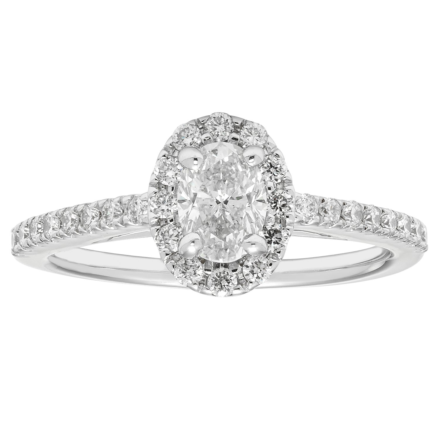 14K White Gold .82 Ctw. Oval and Round Cut Diamond Engagement Ring (VS2-SI1)