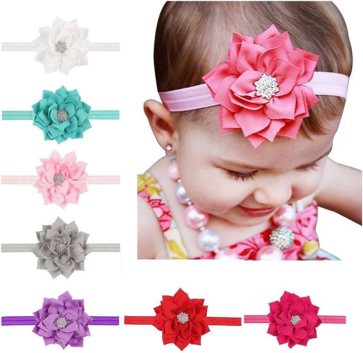 e3fcd176f42 ... Flower Hollow Hair Band Accessories 10PCS. Ms.Gaga Baby Girl Lotus  Diamond Bow Stretchy Headband Hair Accessories 7pcs