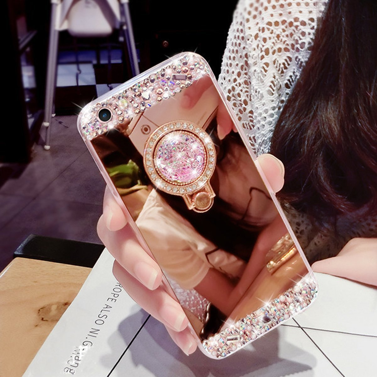 iPhone Xr Case,WATACHE WATACHE Luxury Glitter Shiny Bling Cute Diamond Mirror Makeup Case for Girls with Finger Ring Kickstand Flexible TPU Protective Case for iPhone Xr(Rose Gold)