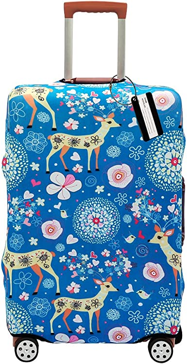 Cute Heart Painting Print Luggage Protector Travel Luggage Cover Trolley Case Protective Cover Fits 18-32 Inch