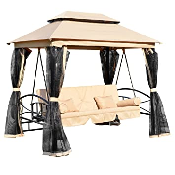 Outsunny Outdoor 3 Person Patio Daybed Canopy Gazebo Swing Chair Bed