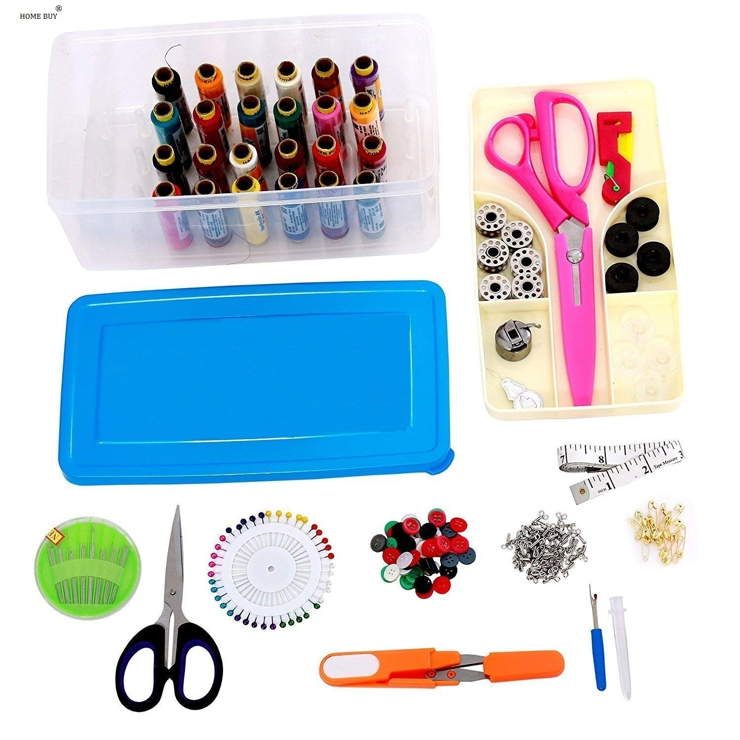 Sewing Kits Cloth Buttons Craft Scissors Sewing Box Thread Stitches Needles Tool