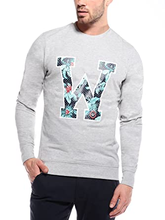 WOLDO Athletic Herren Sweatshirt mit Blumenprint Pullover Slim Fit  Amazon. de  Bekleidung fb1361959f
