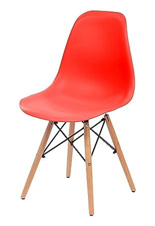 IRIS USA, Inc. Iris Bis Mitte Des Jahrhunderts Modern Shell Stuhl Mit Holz  Eiffelturm Beine, 2 Pack, Erdbeere Rot: Amazon.de: Küche U0026 Haushalt