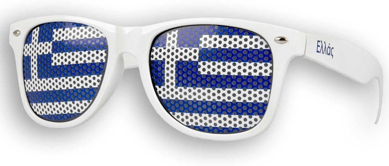 Brille /Ε/λ/λά/ς Sonnenbrille Greece /Ε/λ/λά/ς Fan Artikel 1 x Fanbrille Griechenland Wei/ß