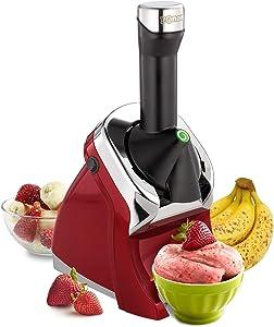 Yonanas 988RD Deluxe Frozen Dessert Maker Premium Chrome Design Dairy Fruit Soft Serve is Vegan Alternative to Ice Cream BPA Free Dishwasher Safe Includes 75+ Recipes, 200 Watts, Red