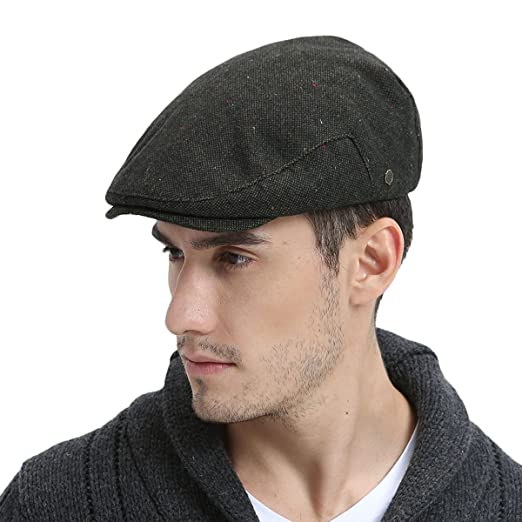 VOBOOM Mens Winter Wool Irish Tweed Caps Cold Weather Flat Cap Back  Adjustable Stretch fit ( bf74d8cd039