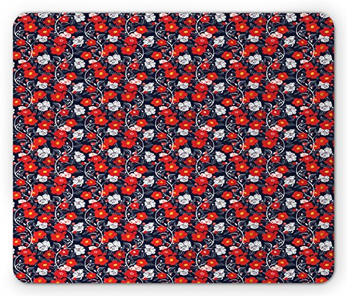 Spring Mouse Pad by Ambesonne, Colorful Blooming Petals Doodle Style Abstract Foliage Silhouettes, Standard Size Rectangle Non-Slip Rubber Mousepad, Dark Blue Vermilion - Dark Vermilion