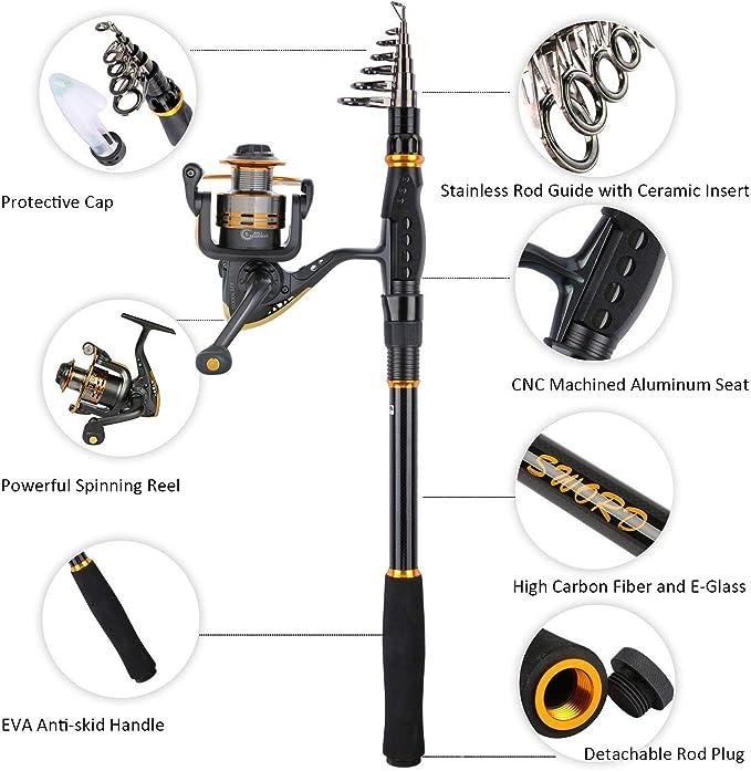 Kit de aparejos de caña de pescar y carrete telescópico Goture Kit ...