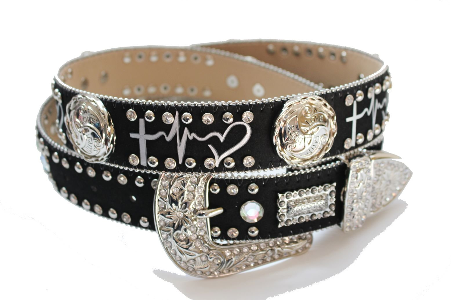 BELTSWEB 12101 Women's ''faith hope love'' Symbol Print with Concho Cowgirl Bling Belt Size 34 Black