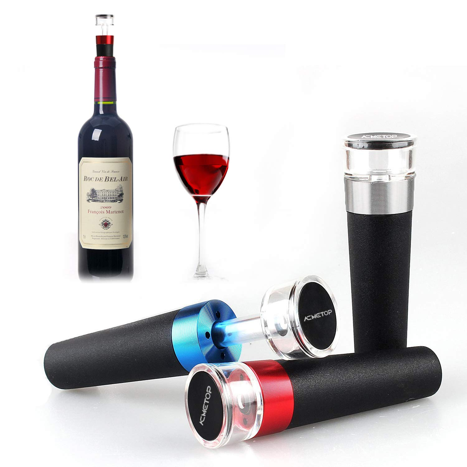 ACMETOP Wine Saver-Wine Stopper Vacuum set with 3 wine Bottle Stoppers-Wine Preserver Vacuum Pump and Rubber Wine Stopper Set To Preserve Wine Flavor and Fresh up to 7 days