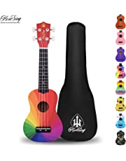 Honsing Soprano Colorful Ukulele Beginner Hawaii kids Guitar Uke Basswood 21 inches with Gig Bag- Stardrone Color matte finish …