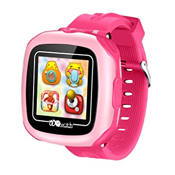 Reloj Niños Smartwatch LBS/GPS Pantalla Táctil Kids Safe Anti-pérdida SOS para Android e iOS Smartphone (Pink-W8)