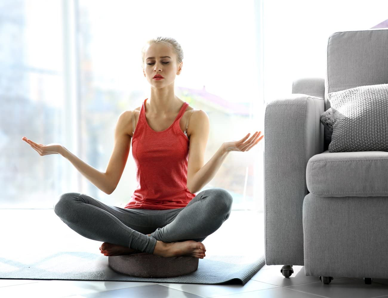Reehut Zafu Cuscino per Meditazione Yoga Imbottito con Grano Saraceno Rivestimento in Cotone Organico o Canapa,33/×33/×11cm(Nero)