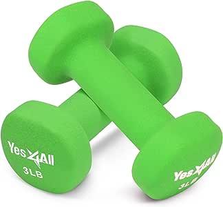 Yes4All Hexagon Neoprene Coated Dumbbell (Pair) - Multiple Weight Options