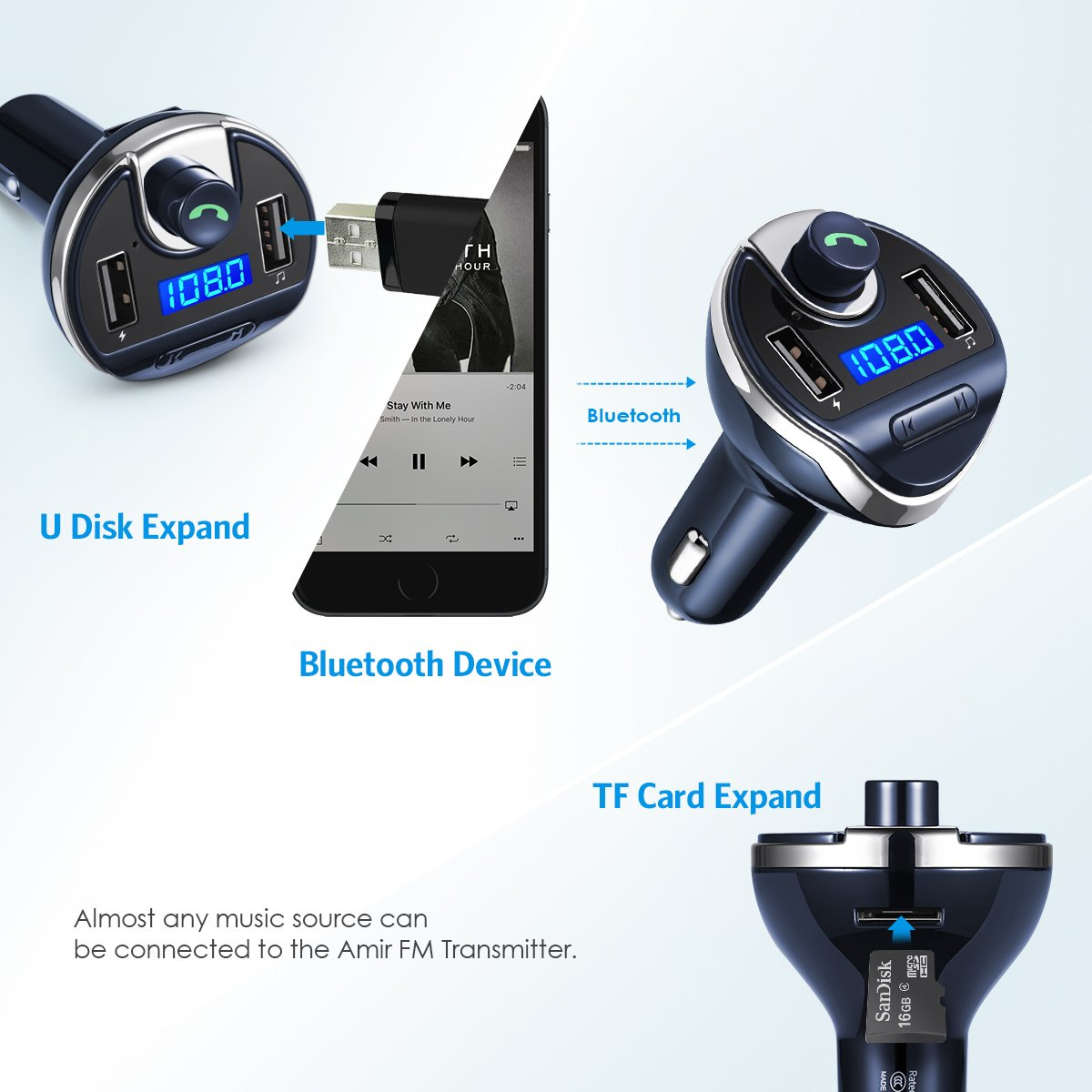Bluetooth FM Transmitter for Car TF Card MP3 Music Player Car Kit U Disk Dual USB Car Charger 2019 New Bluetooth Car Adapter FM Radio Transmitter Black Hands Free Calling