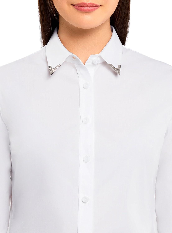 oodji Ultra Donna Camicia in Cotone con Decorazione su Colletto