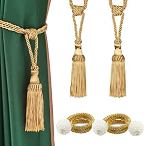 HedongHexi 2 Pack Magnetic Curtain Tiebacks and 2 Pack Hand Knitting Tassel Curtain Tie Backs, Decorative Curtain Holdback Clips for Home Office (Gold)