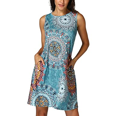 aaeb53b866ec Manadlian Damen Ärmellos Vintage Abendkleider Cocktail Party Floral Kleid,  Frauen Ärmellos Vintage Kleid Boho Kleid