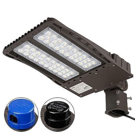 Leonlite Ultra Bright Led Parking Lot Light With Photocell 150w 450w Equiv Slipfitter Mount Area Lighting Fixture Dusk To Dawn Dlc Etl Listed