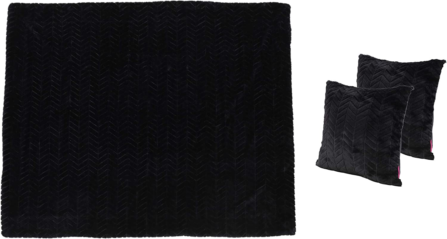 Christopher Knight Home Toscana Faux Furry Pillows and Throw Blanket Combo, 3-Pcs Set, Black