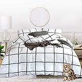 Jumeey White Comforter Set Queen Plaid Checkered Comforter Full Cotton Men Women White and Black Buffalo Check Grid…