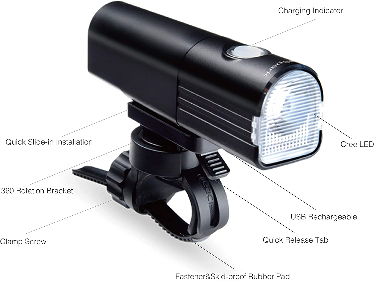 BikeSpark Ultra Bright Front Light F3-800 lm Super Bright LED Bike Headlight – USB Rechargeable LG 3350mAh – Water Resistant IPX6 – Fast Installation and Light Projection Angle Adjustable