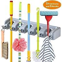 Weltime Mop and Broom Holder, Multipurpose Wall Mounted Magic Holder Broom & Mop Organizer Storage Hooks, Ideal Broom Hanger for Kitchen Garden, (mop Holder and Broom Holder)(Grey)