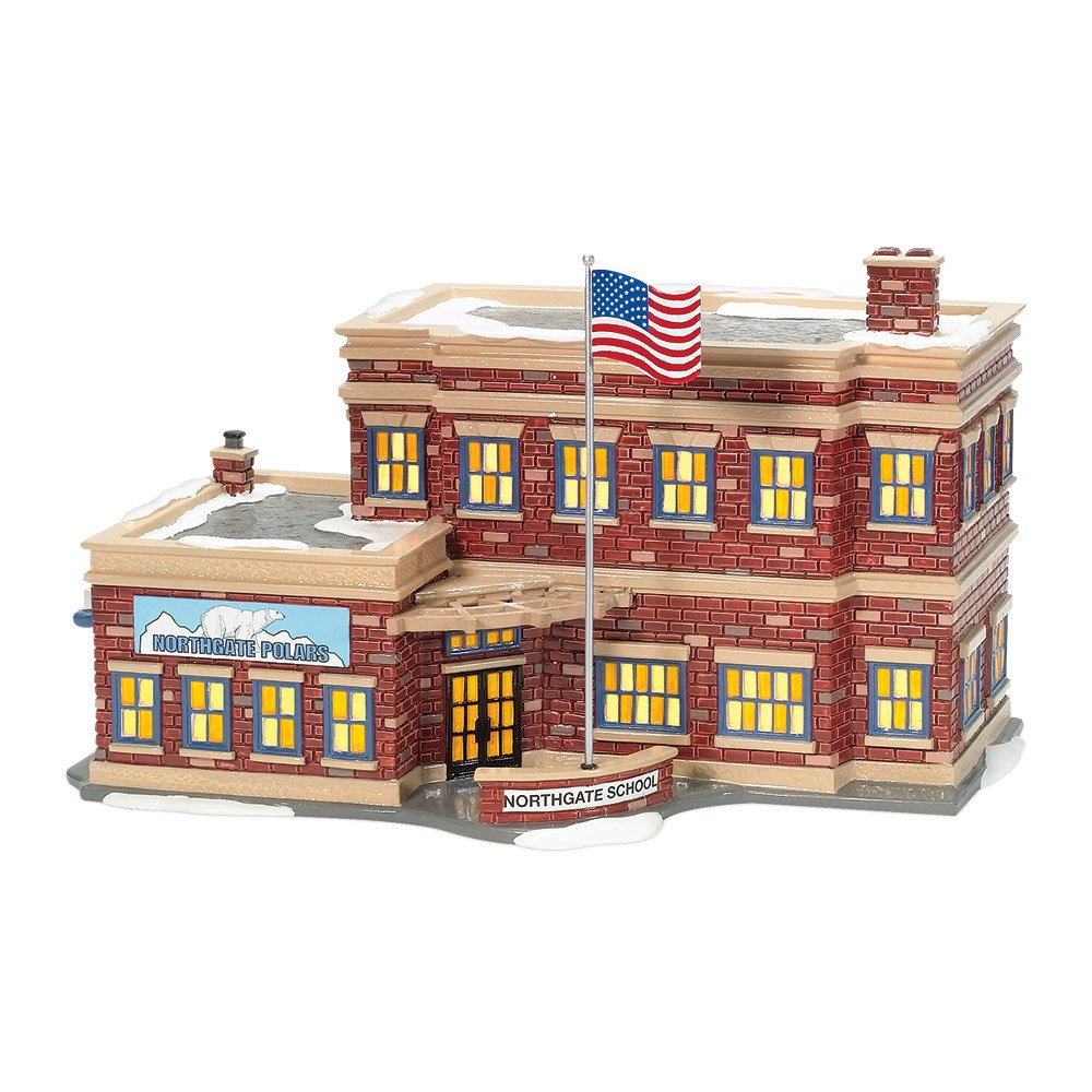 Department 56 Snow Village Northgate School Lit Building