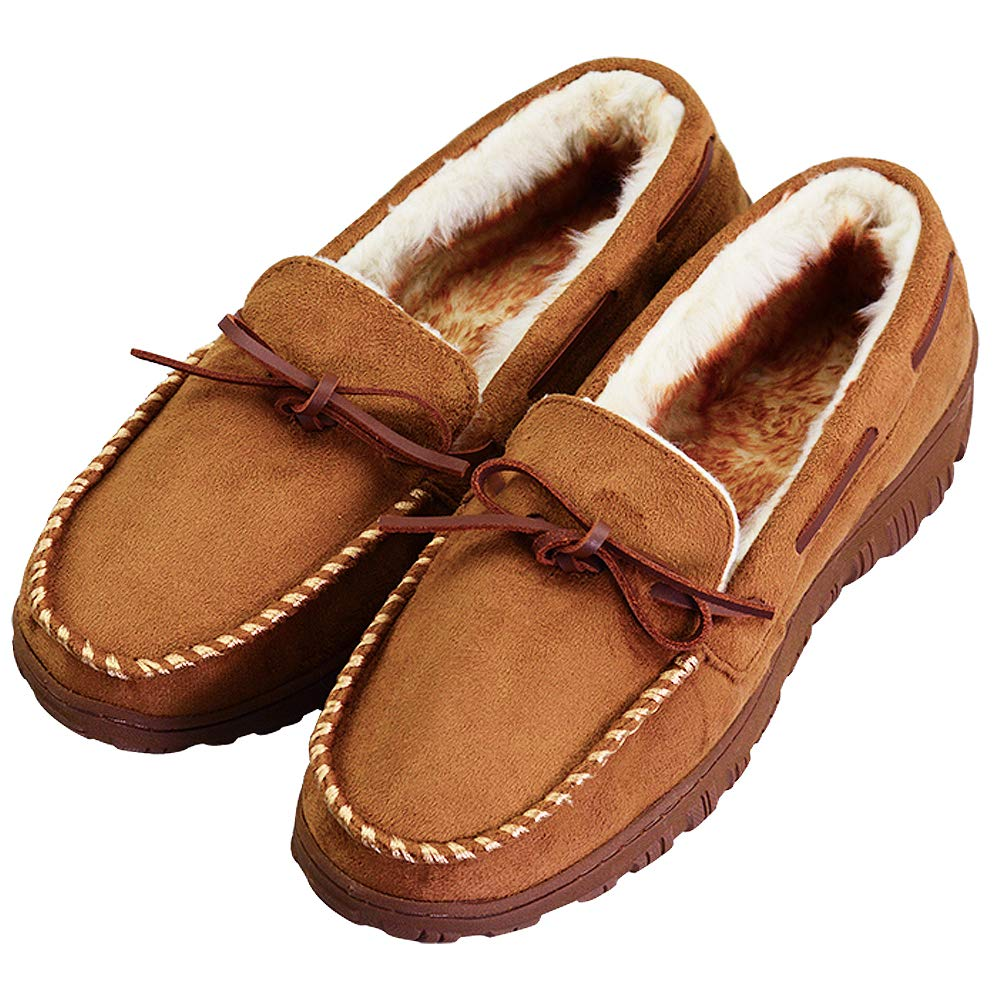VLLY Mens Slippers Moccasin Cozy Pile Lined Microsuede Indoor Outdoor Slip On Size for 11 M US Brown by VLLY